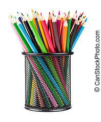 Color pencils in black office cup - Various color pencils in...