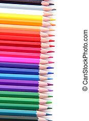 color pencils in row