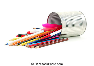 Color pencils in tin - isolated color pencils in tin
