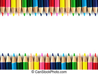 Color pencils isolated framebackground