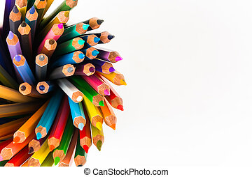 Color pencils isolated on the white background