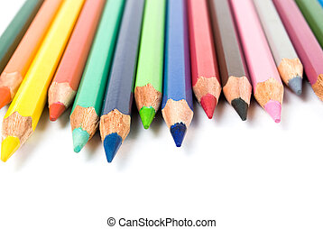 color pencils isolated on the white