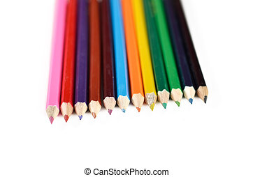 Color pencils isolated on white background close up