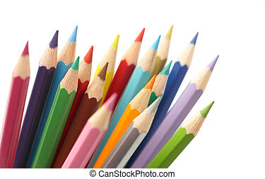 color pencils isolated on white background, studio shot