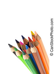 Color pencils isolated on white background with copy space.