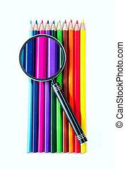 Color pencils, magnifier