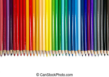 Color pencils on white background