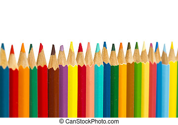 Color pencils on white background, small depth of sharpness