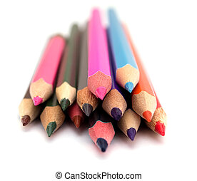 Color pencils on white