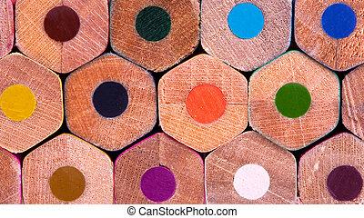 Color pencils. Back view