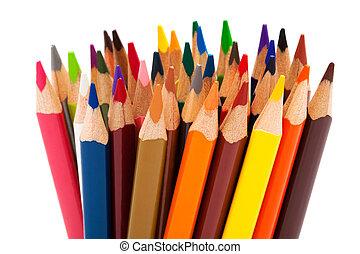 color pencils - Beautiful color pencils on a white...