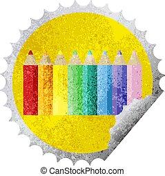 color pencils round sticker stamp