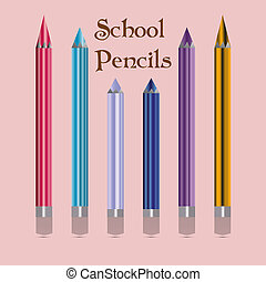 Color pencils, school accessories, on a pink background
