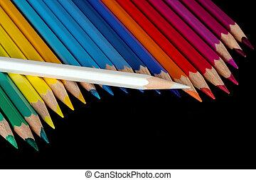 Color pencils - Palette of color pencils on a black...