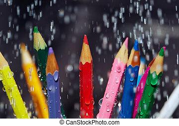Color pencils under the rain