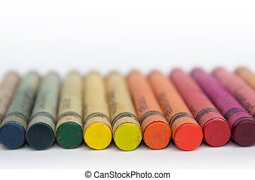 color pencils, wax crayons