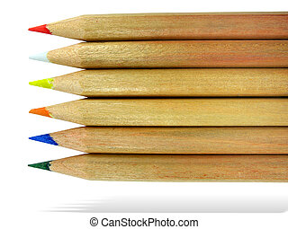 Color pencils with shadow isolated on a white background