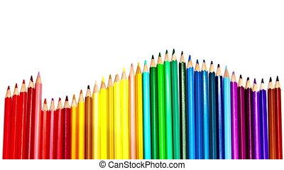 Color pencilsmove a wave , stop-motion - Color pencilsmove a...