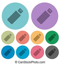 Color pendrive flat icons
