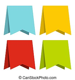 Color pennants icon, flat style
