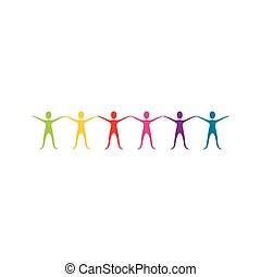 color people with hands up icon