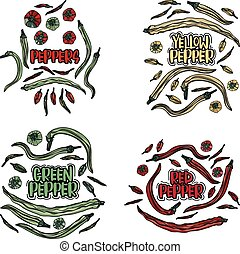 Color peppers set.