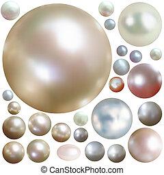 color, perlas, aislado, colección, white.