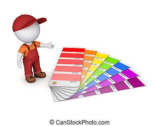 color, persona, sampler., 3d, pequeño