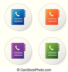Color Phone book icon isolated on white background. Address book. Telephone directory. Set color icon in circle buttons. Vector Illustration