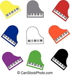 Color piano on white background