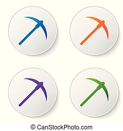 Color Pickaxe icon isolated on white background. Blockchain technology, cryptocurrency mining, bitcoin, digital money market, cryptocoin wallet. Set icons in circle buttons. Vector Illustration