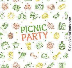 Color Picnic Party Banner Card Background. Vector