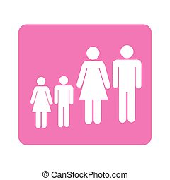 color pictogram square with family