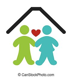 color pictogram with couple in home vector illustration