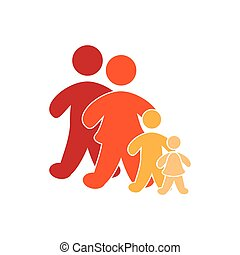 color pictogram with family group