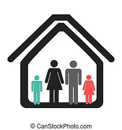 color pictogram with family in home vector illustration
