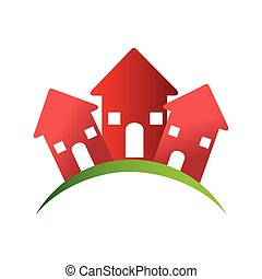color pictogram with group of houses