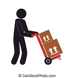 color pictogram with messenger and hand truck with boxes