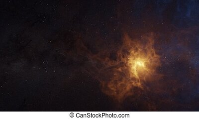 Color picture of the galaxy, orange nebula. 3d rendering ...