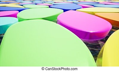 Color pieces of plastic on water