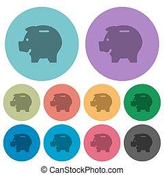 Color piggy bank flat icons