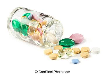 Color pills shedding of a bottle