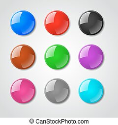 Color pin magnet vector set