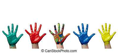 color, pintado, niño, mano, arte, arte