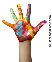 color, pintado, niño, mano