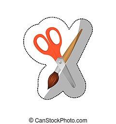 color, pintura, icono, cepillo, scissor