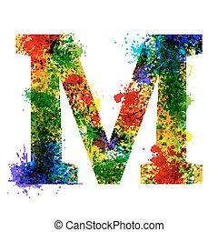 color, pintura, splashes., gradiente, vector, font., acuarela, diseñador, decoración, alphabet., tinta, símbolos, aislado, en, un, blanco, fondo., letra m
