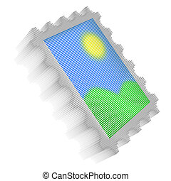 Color pixel icon-like image of postage stamp