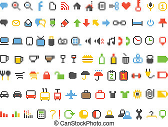 Color pixel style icons collection on black