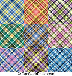 Color plaid patterns set